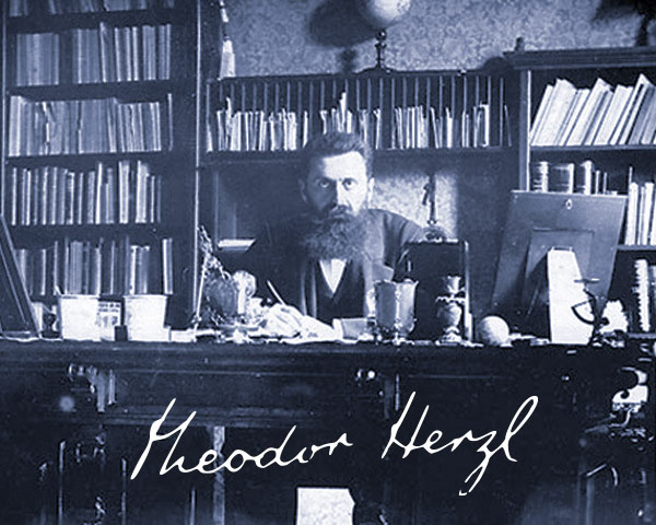 Theodor Herzl, visionnaire, assis à son bureau